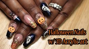 acrylic nails halloween nails w 3d acrylic art born pretty