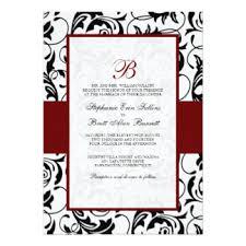 Damask Wedding Invitations Black White Red Damask Invitations U0026 Announcements Zazzle