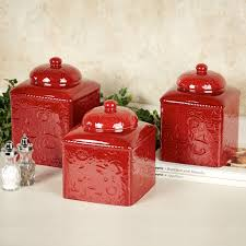furniture savannah red kitchen canister sets made of ceramic for