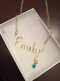 real gold name necklace gold name necklace with birthstone kara s kreations jewelry more