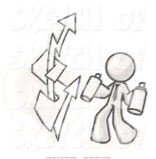 How To Graffiti With Spray Paint - drawing of a sketched design mascot business man spray painting a