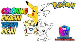 coloring pikachu togepi pichu pokemon coloring page for kids to