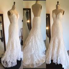 wedding dress brand lace low back low neckline vertical lace brand new never worn