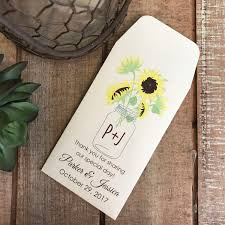 sunflower seed wedding favors diy custom seed packets sunflower custom envelope kraft
