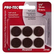pro tec felt self stick surface savers 19mm 6pk madico