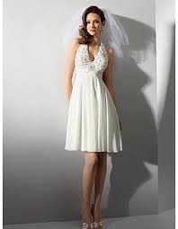 casual wedding dress empire halter knee length chiffon wedding dress