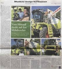 Allgemeine Zeitung Bad Kreuznach Pressemeldungen Agrarservice Böß Schlitz