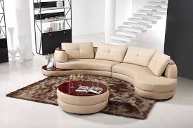 contemporary beige leather sectional curved sofa with round modern
