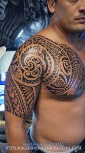 polynesian chest and half sleeve