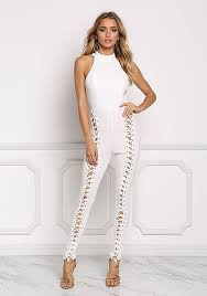 lace up jumpsuit junior clothing ivory high lace up back cut out jumpsuit
