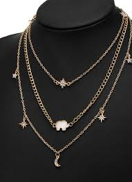 multi layer necklace images Gold multi layer necklace moon star elephant pendant necklace jpg