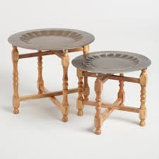 end table set of 2 metal and wood arya table set of 2 world market