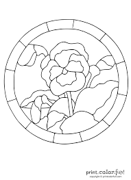stained glass pansy coloring page print color fun