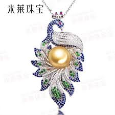diamond pearl pendant necklace images Wholesale 13 5mm natural golden south sea pearl pendant 18k white jpg
