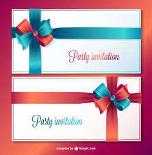 party invitation cards with blue and red ribbons vector free