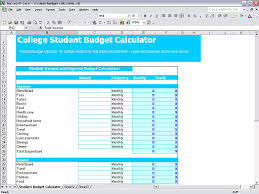 student budget calculator in excel sheet free download