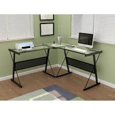 Black Glass L Shaped Desk by L Shaped Glass Gaming Desk Best Home Furniture Decoration