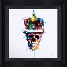 patrice murciano liquid resin paint large artwork skull with crown
