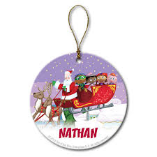 Barney Christmas Ornament The Official Pbs Kids Shop Super Why Santa U0027s Sleigh Circle Ornament
