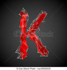 drawings of abstract red modern triangular shape of letter k on a