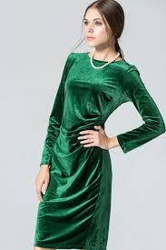 womens long sleeved round neck slim velvet pleated winter dress