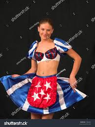 Flag Clothing Prom Queen Cheerleader American Flag Clothing Stock Photo 1966060