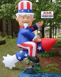 Blow Up Lawn Decorations Air Blown Inflatable Patriotic Uncle Sam On Rocket Collect