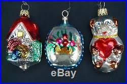 antique set of 12 feather tree mercury glass ornaments