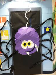 halloween spider on classroom door bulletin boards halloween