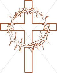 crown of thorns with cross outline cross clipart