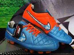 Sepatu Bola Grade Ori detail sepatu futsal merek nike tiempo hypershield biru orange