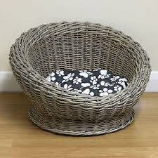 Shabby Chic Dog Beds by Small Round Woven Natural Wicker Shabby Chic Pet Bed Basket Cat