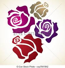 design flower rose drawing four color flower rose sketch illustration clip art search