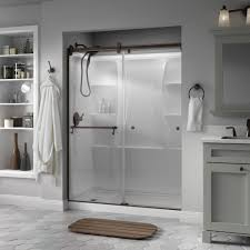 patterned glass shower doors delta portman 60 in x 71 in semi frameless contemporary sliding