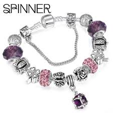 charm bracelet jewelry images Spinner european style vintage silver plated crystal charm jpg