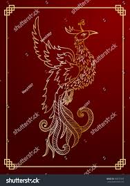 chinese traditional red phoenix feng shui stock vector 358577297