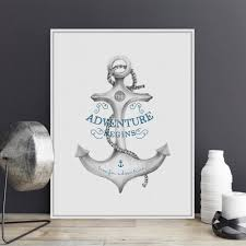 online get cheap nautical posters aliexpress com alibaba group modern adventure quotes a4 large canvas art print poster nautical anchor wall pictures living room home decor painting no frame