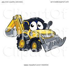 clipart of a cartoon digger bulldozer mascot royalty free vector