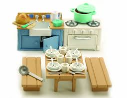 Dolls House Kitchen Furniture Amazon Com Sylvanian Families Rustic Kitchen Furniture Toys