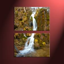 Canvas Prints Home Decor by 2 Piece Green Scenery Waterfall Wall Art