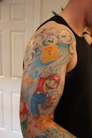 automotive tattoo sleeve mario tattoo sleeve pictures to pin on pinterest tattooskid