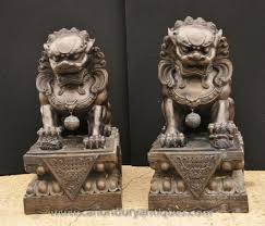 images of foo dogs pair xl bronze foo dogs keiloon fu temple statue china ebay