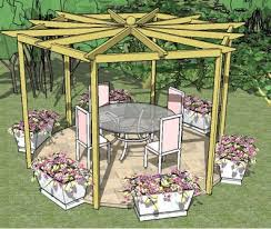 Wood Pergola Plans by An Unusual Hexagonal Pergola With Beautiful Radiating Rafters