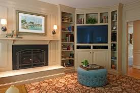 Corner Fireplace With Built In Bookshelves Living Room - Corner cabinets for plasma tv