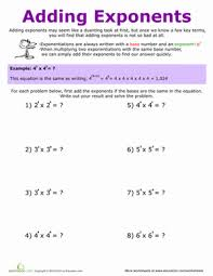 adding exponents worksheet education com