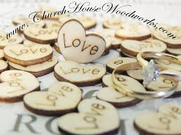 wood heart burned confetti table scatter decor for rustic weddings