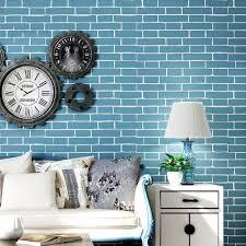 modern simple blue brick pattern non woven wallpaper 3d stone