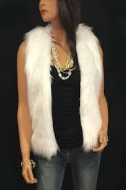 hip length faux fur vest in white angora
