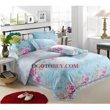 light blue floral 4 piece bed in a bag with full queen size buy