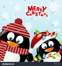 merry christmas card two penguins stock vector 121895692